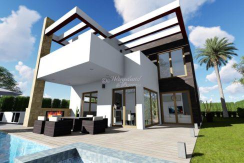 illustrasjon basseng og hus