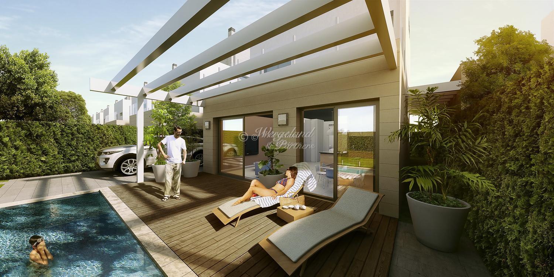 Meget innholdsrik 4-roms villa, basseng og garasje direkte ved golfbanen Serena Golf. Inkl. 2 års golfmedlemskap! [SBV11]