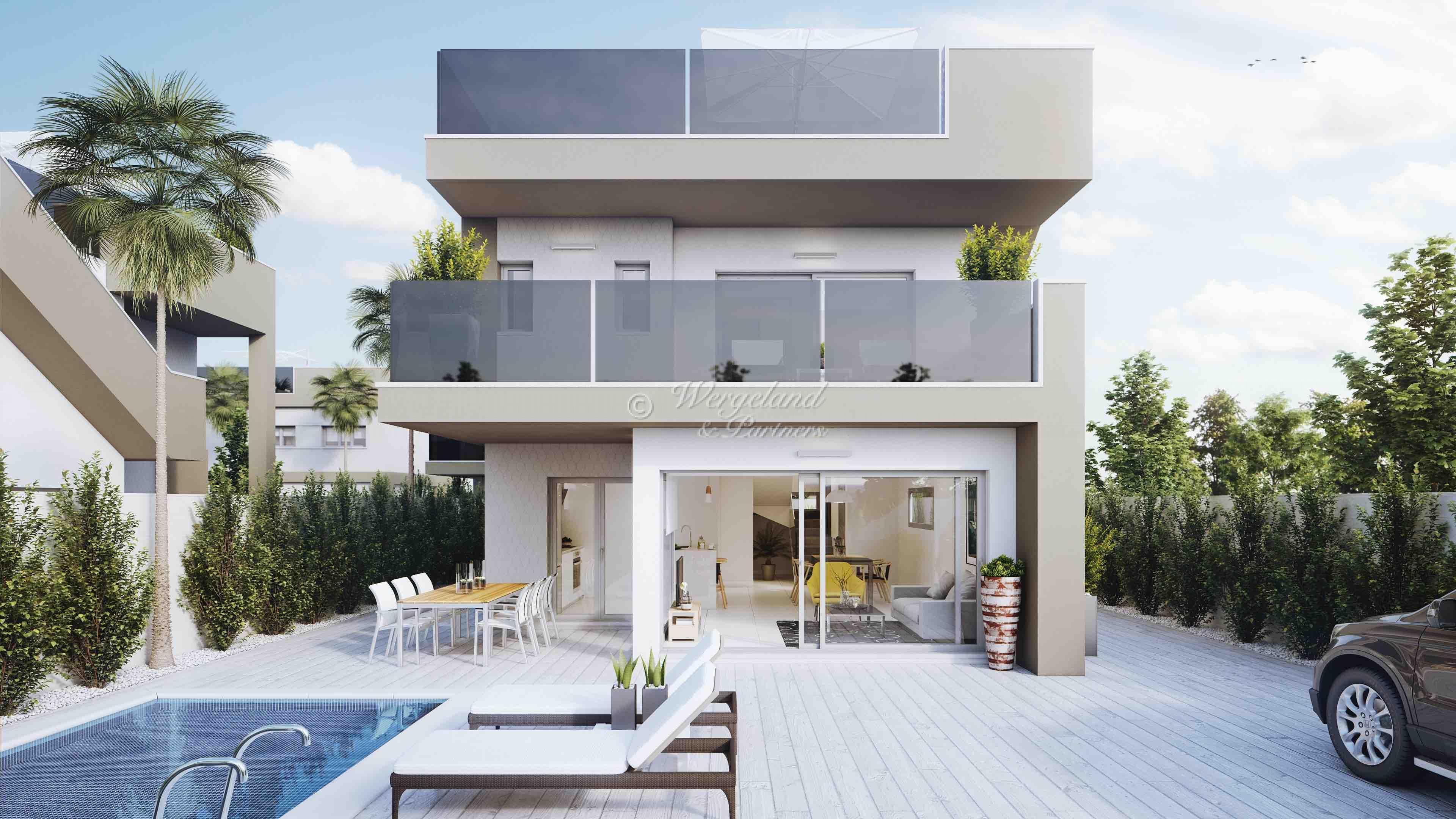 300 m. til stranden: 4-roms villa med 2 bad, privat basseng, takterrasse [TV1]