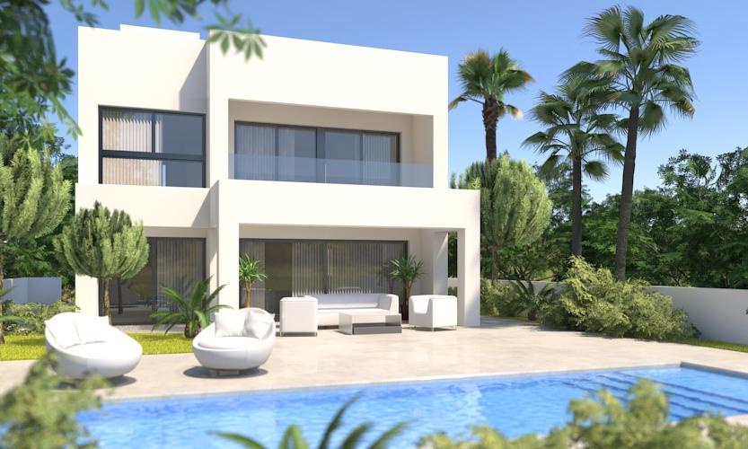 Nybygget 1. linje golf Moderne villa med 4 soverom og 3 bad. Privat basseng [CV]