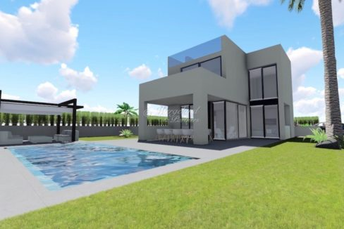 Illustrasjon villa med basseng
