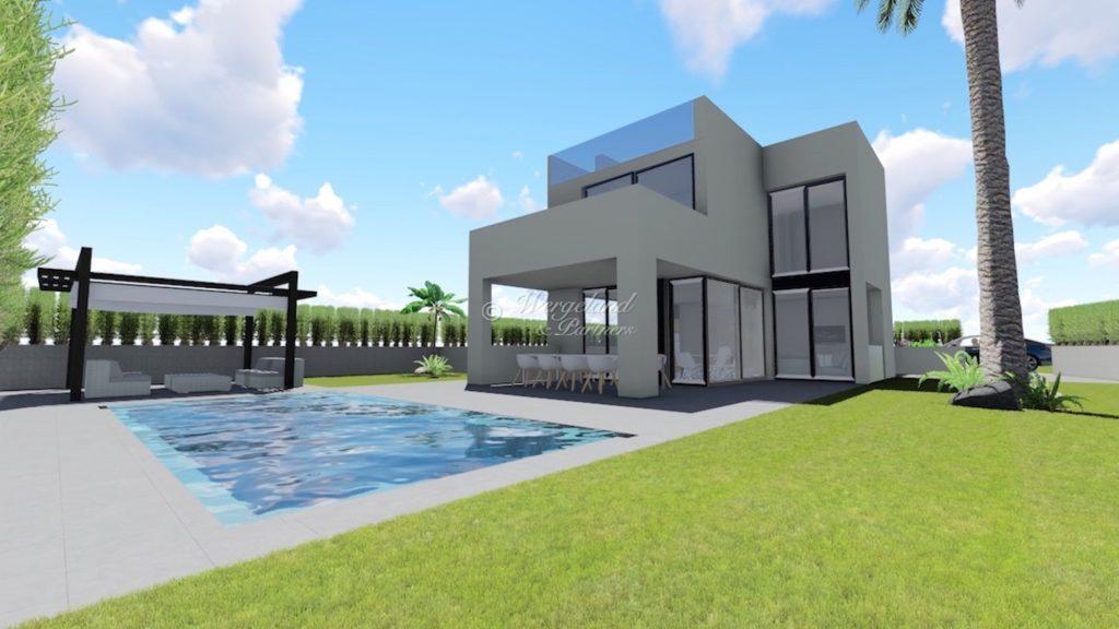 Fasade og basseng illustrasjon